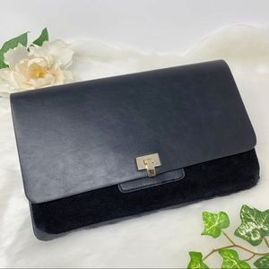 NWT EXPRESS black leather clutch gold hardware